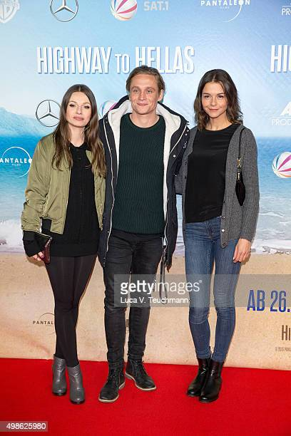 Julia Hartmann Matthias Schweighoefer and Susan Hoecke attend the 'Highway to Hellas' German Premiere at Kino in der Kulturbrauerei on November 24...