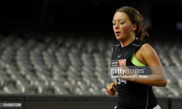 Julia Harvey performs in the 2km time trial during the AFLW Draft Combine at Marvel Stadium on October 3 2018 in Melbourne Australia