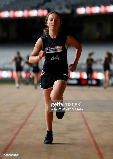 Julia Harvey performs the yoyo test during the AFLW Draft Combine at Marvel Stadium on October 3 2018 in Melbourne Australia