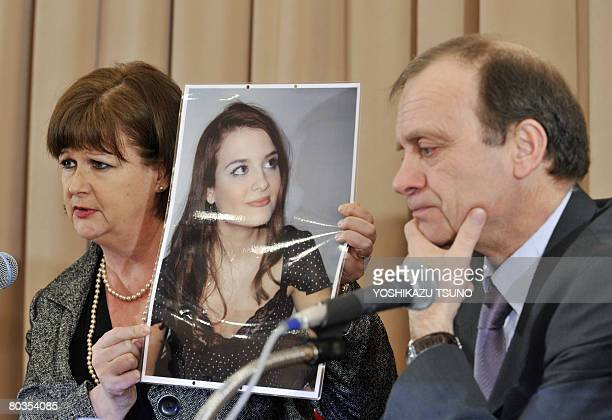 Julia Hawker , mother of 22-year-old British Lindsay Ann Hawker whose body was found at an apartment on March 26, 2007 shows a picture of her...