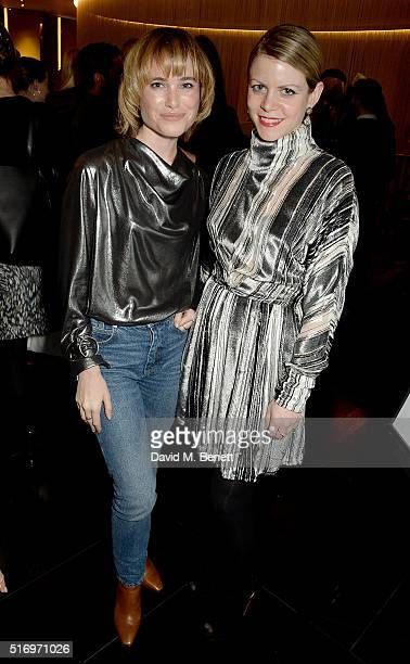 Julia Hobbs and guest attend the BFC/Vogue Designer Fashion Fund 2016 winners announcement at Bulgari Hotel on March 22 2016 in London England