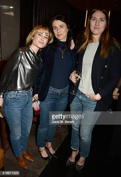 Julia Hobbs Emily Sheffield and Naomi Smart attend the BFC/Vogue Designer Fashion Fund 2016 winners announcement at Bulgari Hotel on March 22 2016 in...