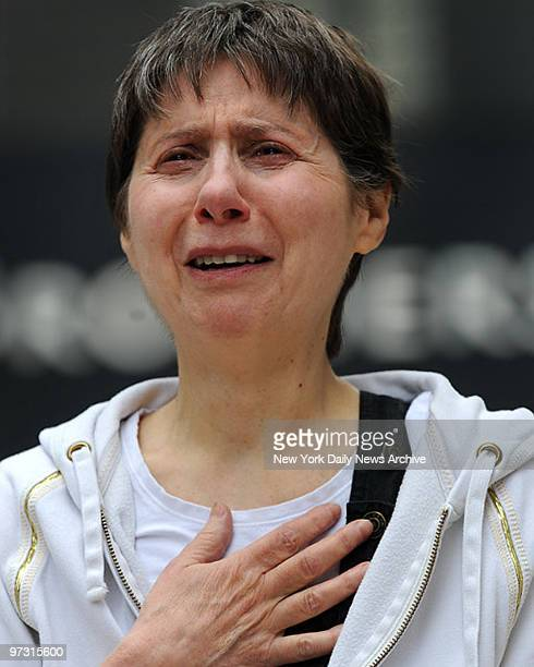 Julia Indichova on Broadway looks at ground zero while victims names are being read on the 7th anniversary of Sept 11 WTC terrorist attack She is...