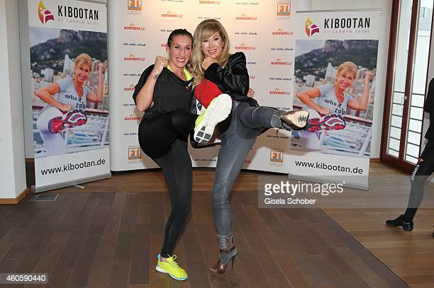 Julia Irmen kickbox worldchampion 2014 Carmen Geiss during the presentation of the online fitness and nutrition program 'Kibootan' on December 17...