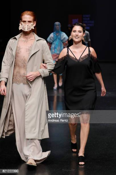 Julia Israel acknowledges the audience after her show 'Hermaphrodit' at the AMD Exit17_2 show during Platform Fashion July 2017 at Areal Boehler on...