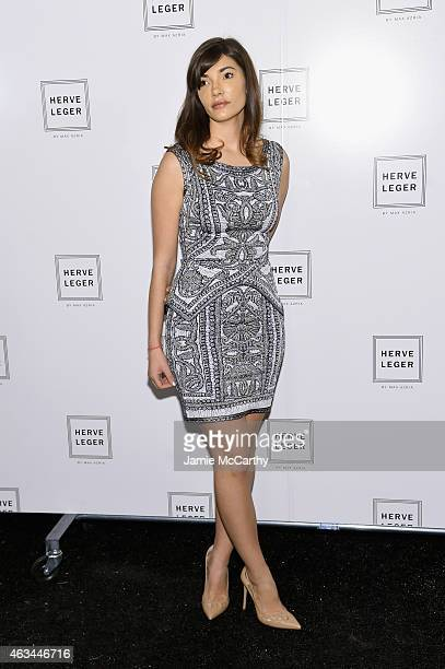 Julia Jackson poses backstage at the Herve Leger By Max Azria fashion show during MercedesBenz Fashion Week Fall 2015 at The Theatre at Lincoln...