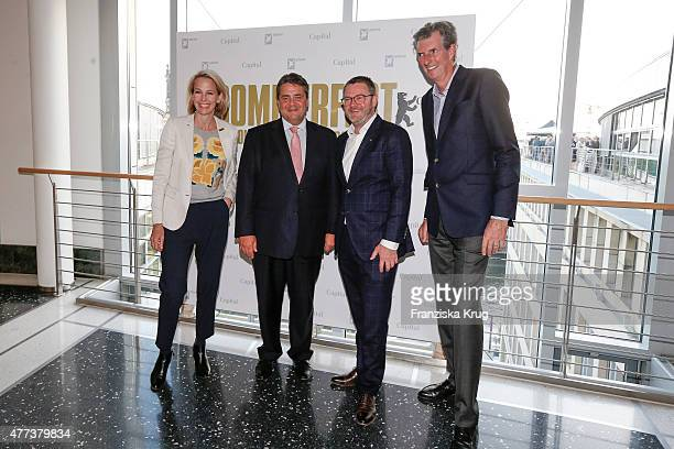 Julia Jaekel Sigmar Gabriel Christian Krug and Andreas Petzold attend the STERN And CAPITAL Summer Party on June 16 2015 in Berlin Germany
