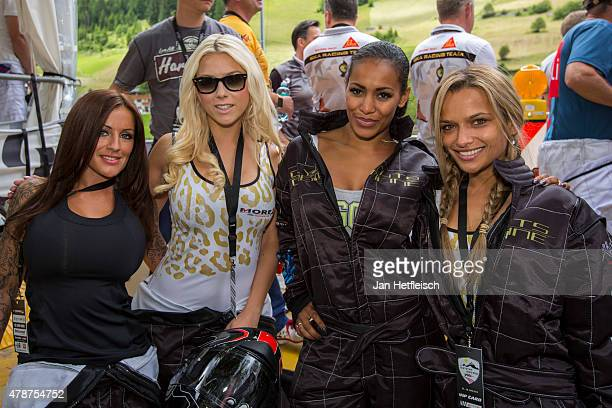 Julia Jasim Ruehle Katie Steiner Laura Lopez and Ramona Sedlmeier pose for a picture during the Ischgl Cart Trophy 2015 on June 27 2015 in Ischgl...