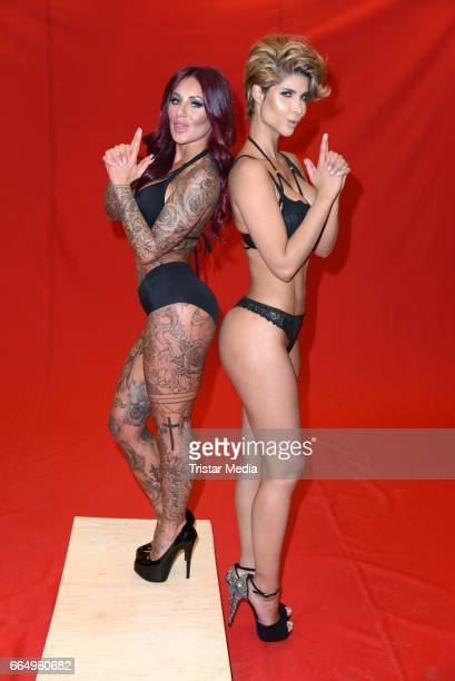 Julia Jasmin Ruehle aka JJ and Micaela Schaefer during the Campaign Shoot For Erotic Fair Venus on April 5 2017 in Berlin Germany