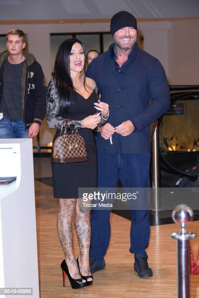 Julia Jasmin Ruehle with her new boyfriend Rene Marschke attend the Serienale Opening on September 27, 2017 in Berlin, Germany.