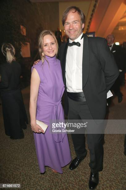 Julia Jentsch and her husband Christian Habluetzel barefoot during the Lola German Film Award after party at Palais am Funkturm on April 28 2017 in...