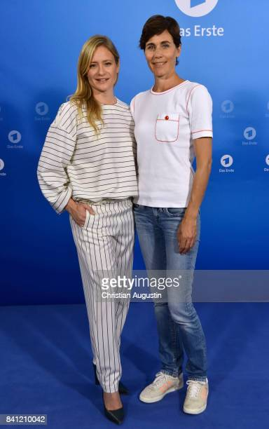 Julia Jentsch and Nina Kunzendorf pose during the photo call for 'Das Verschwinden' at the Hotel Atlantic on August 31 2017 in Hamburg Germany