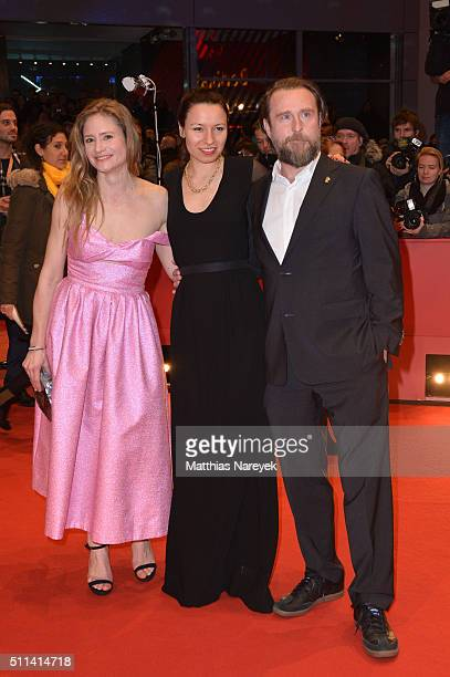 Julia Jentsch Anne Zohra Berrached and Bjarne Maedel attend the closing ceremony of the 66th Berlinale International Film Festival on February 20...