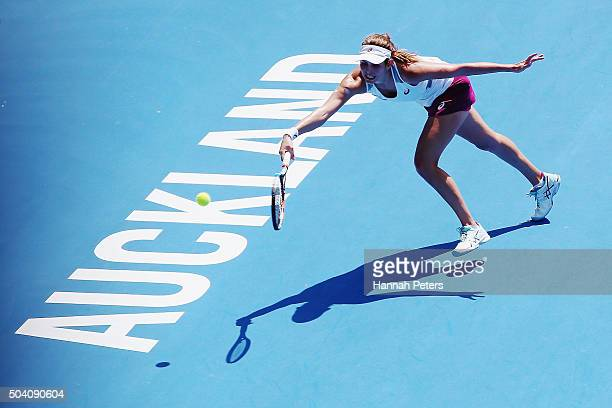 Julia Joerges of Germany plays a forehand during her singles final match against Sloane Stephens of the USA during day six of the 2016 ASB Classic at...