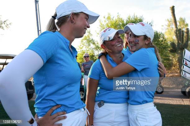 Julia Johnson and Chiara Tamburlini of the Ole Miss Rebels celebrate advancing to the finals in match play during the Division I Women's Golf...