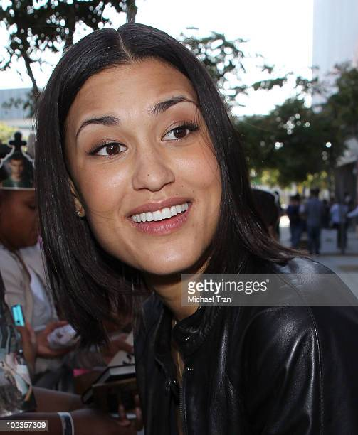 Julia Jones with her fans at the Eclipse fan frenzy held at Nokia Plaza LA LIVE on June 23 2010 in Los Angeles California