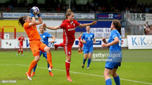 Julia Kassen of Meppen saves the ball against Chiara Pucci of Bayern during the B Junior Girl's German Championship Semi Final match between SV...