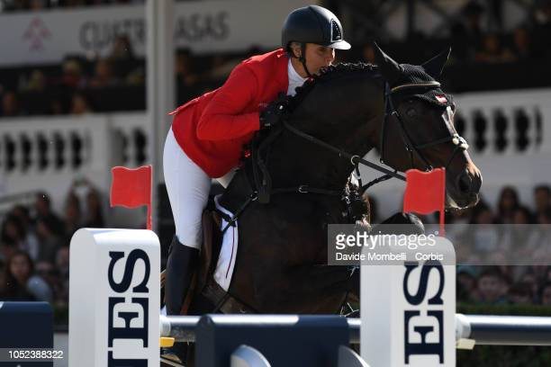 Julia Kayser of Austria riding Sterrehof's Cayetano Z during Longines FEI Jumping Nations Cup Final Competition on October 7 2018 in Barcelona Spain