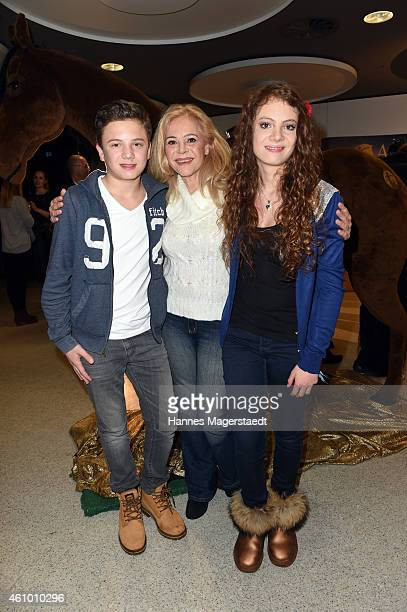 Julia Kent and her children Bernadette and Jacob attend 'Apassionata Die goldene Spur' Munich Premiere at Olympiahalle on January 3 2015 in Munich...