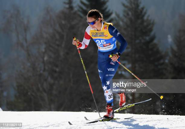 Julia Kern of the United States competes in the Cross Country Skiathlon Ladies 15k race during FIS Nordic World Ski Championships on February 23 2019...