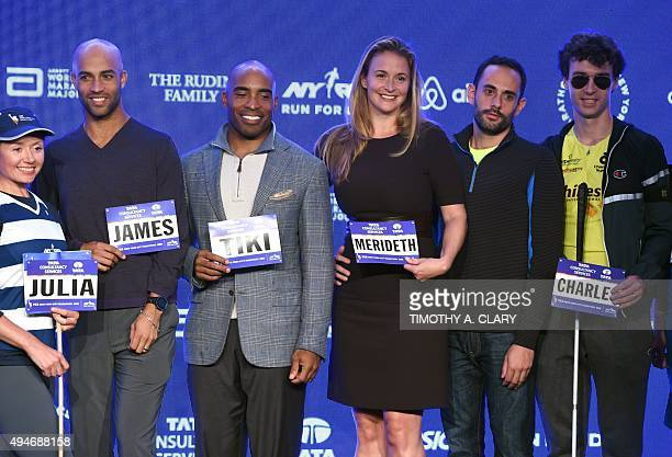 Julia Khvasechko James Blake Tiki Barber Merideth Gilmore running guide Matt leibman and Charles Edouard Catherine pose during Faces of the TCS New...