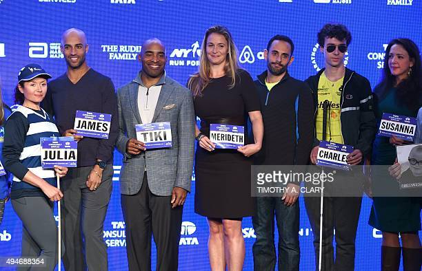 Julia Khvasechko James Blake Tiki Barber Merideth Gilmore running guide Matt Leibman Charles Edouard Catherine and Susanna Phillips pose during Faces...