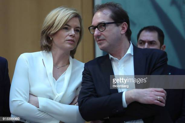 Julia Kloeckner Christian Democratic Union lawmaker left speaks to Alexander Dobrindt Germany's transport minister and Christian Social Union...