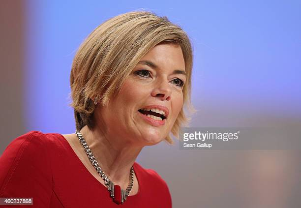 Julia Kloeckner head of the German Christian Democrats in RhinelandPalatinatespeaks at the CDU annual party congress on December 10 2014 in Cologne...