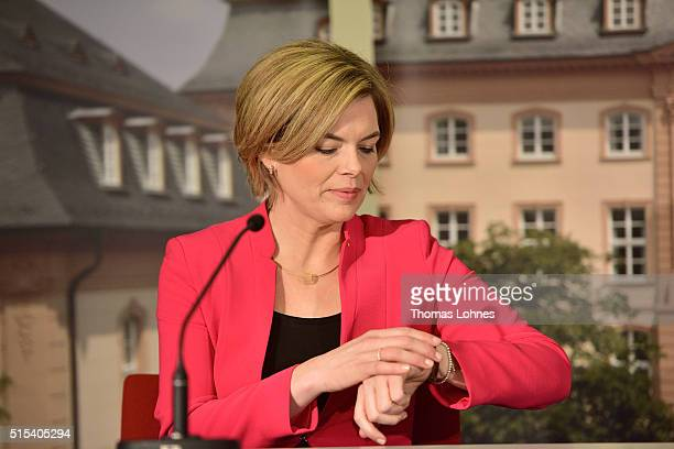 Julia Kloeckner lead candidate for the German Christian Democrats in RhinelandPalatinate state elections reacts at the federal state presseconference...