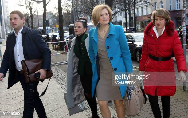 Julia Kloeckner politician of the conservative Christian Democratic Union party arrives at the SPD headquarters as talks between the top German...