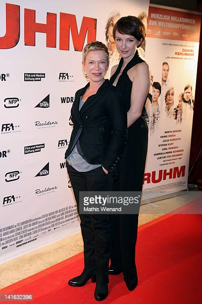 Julia Koschitz and Isabel Kleefeld attend the 'Ruhm' Germany Film Premiere at 'Residenz eine astor Film Lounge' on March 20 2012 in Cologne Germany