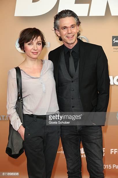 Julia Koschitz and Matthias Beier during the German premiere of the film 'Der geilste Tag' on February 23 2016 in Munich Germany
