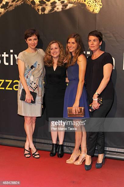 Julia Koschitz Ariane Schroder Miriam Stein and Victoria Mayer attend a photocall during the 67th Locarno Film Festival on August 9 2014 in Locarno...