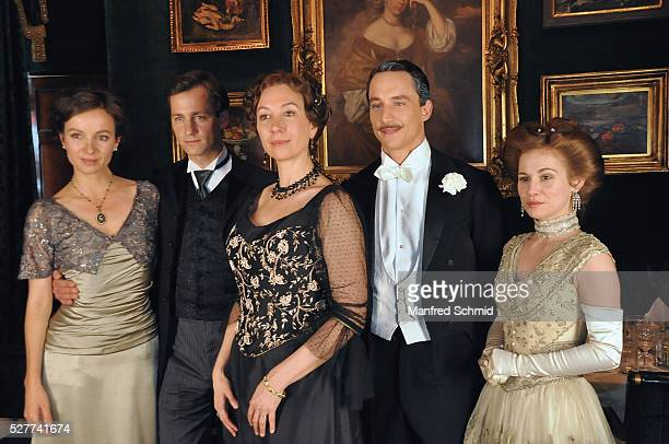 Julia Koschitz Florian Stetter Ursula Strauss Laurence Rupp and Josefine Preuss pose during a photo call for the film 'Sacher' at Hotel Sacher on May...