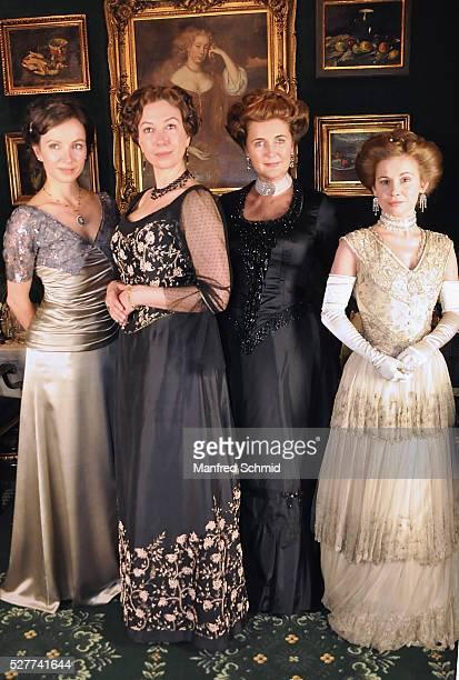 Julia Koschitz Ursula Strauss Francesca von Habsburg and Josefine Preuss pose during a photo call for the film 'Sacher' at Hotel Sacher on May 3 2016...