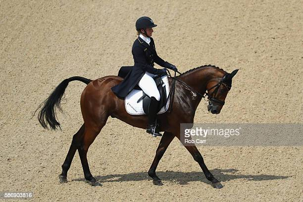 Julia Krajewski of Germany riding Samourai Du Thot competes in the Eventing Team Dressage event during equestrian on Day 2 of the Rio 2016 Olympic...