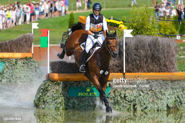 Julia Krajewski of Germany riding Samourai du Thot during the obstacle in the water of the Cross Country test DHLPrize in the park of the CHIO of...