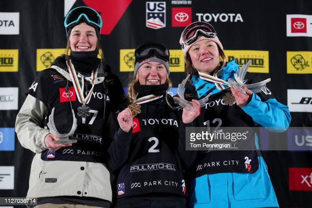 Julia Krass of the United States in second place Tess Ledeux of France in first place and Isabel Atkin of Great Britain in third place celebrate on...