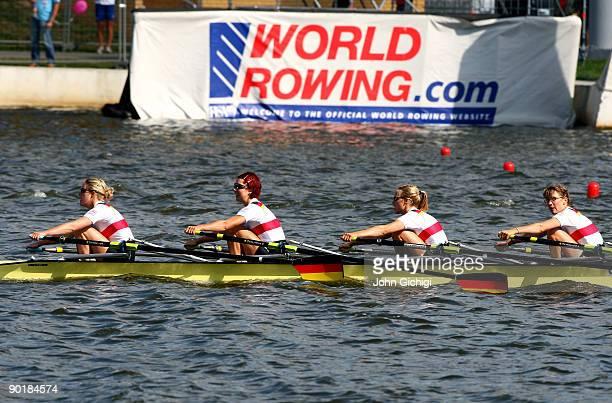 Julia Kroeger Laura Tibitanzl Helke Nieschlag and Lena Mueller of Germany win the Women's Lightweight Quadruple Sculls during the World Rowing...