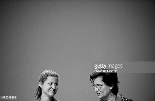 Julia KuhnPiech and Louise Kiesling both nieces of Ferdinand Piech arrive for the Volkswagen annual general shareholders' meeting on May 5 2015 in...