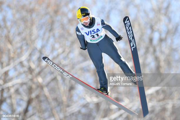 Julia Kykkaenen of Finland competes in the Ladies normal hill individual during day one of the FIS Ski Jumping Women's World cup at Miyanomori Ski...
