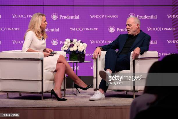 Julia La Roche and Aetna Chairman CEO Mark Bertolini speak onstage at the Yahoo Finance All Markets Summit on October 25 2017 in New York City