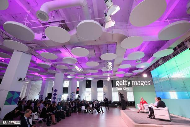 Julia La Roche Hilary Irby and Surya Kolluri speak on stage at the Yahoo Finance All Markets Summit on February 8 2017 in New York City