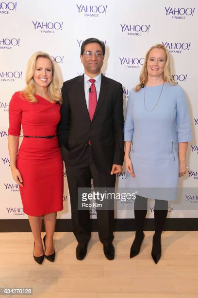 Julia La Roche Managing director Bank of America Surya Kolluri and managing director Morgan Stanley Hilary Irby attend the Yahoo Finance All Markets...