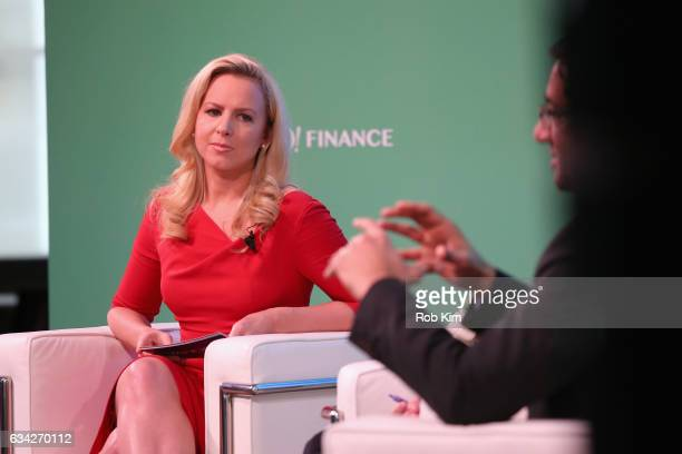 Julia La Roche speaks on stage at the Yahoo Finance All Markets Summit on February 8 2017 in New York City