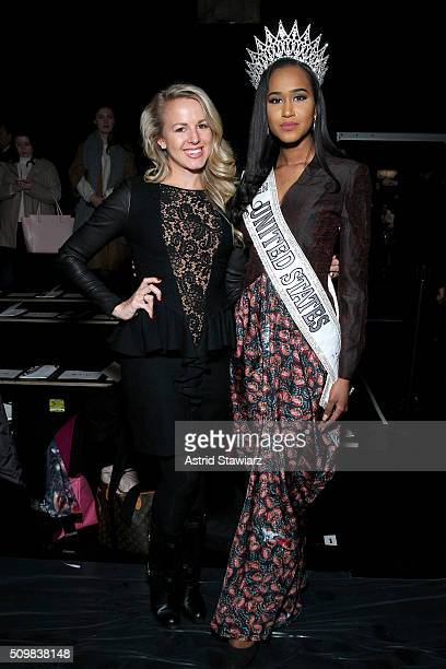 Julia LaRoche and 2015 Miss Teen USA Andreia Gibau attends the Fashion Hong Kong Fall 2016 fashion show during New York Fashion Week The Shows at The...