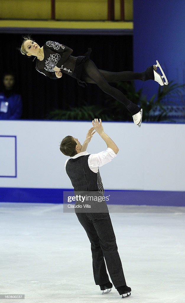 Julia Lavrentieva and Yuri Rudyk of Ukraine skate in the Pairs Short Program during day 3 of the ISU World Junior Figure Skating Championships at Agora Arena on February 27, 2013 in Milan, Italy.