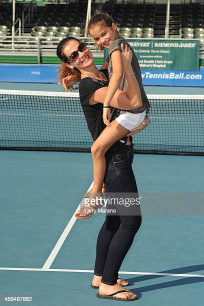 Julia Lemigova and Emma Navratilova pose at the 25th Annual Chris Evert/Raymond James ProCelebrity Tennis Classic at Delray Beach Tennis Center on...