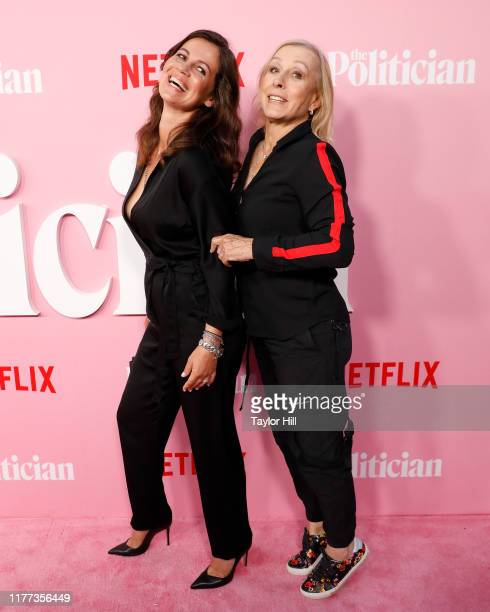Julia Lemigova and Martina Navratilova jokingly standing on her tiptoes attend the premiere of Netflix's The Politician at DGA Theater on September...