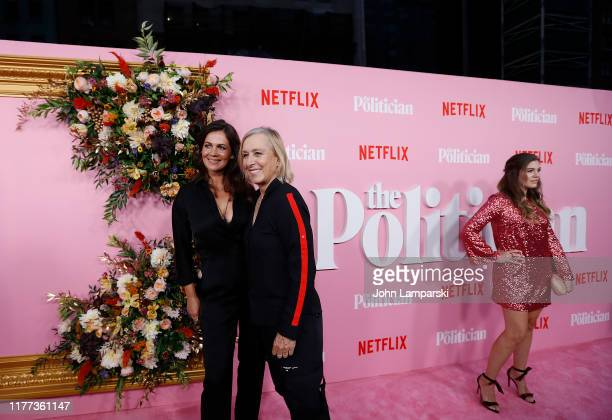 Julia Lemigova Martina Navratilova and Laura Dreyfuss attend The Politician New York Premiere at DGA Theater on September 26 2019 in New York City